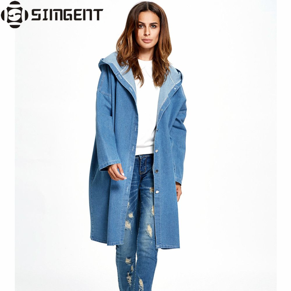 Oversized Denim Jacket Long Hooded Loose Full Sleeve Winter Jeans ...