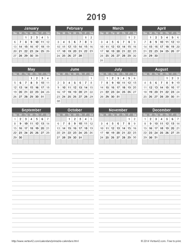 Download a free 2019 yearly calendar with notes from for Calendar template by vertex42 com