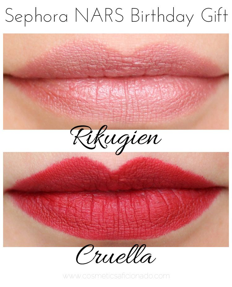 NARS Cruella And Rikugien From The Sephora Birthday Freebie For 2015 Are Reviewed Swatched