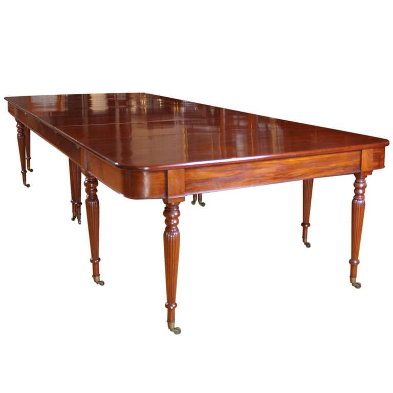 Long and Wide Two-Part English Banquet Dining Table in Mahogany ...