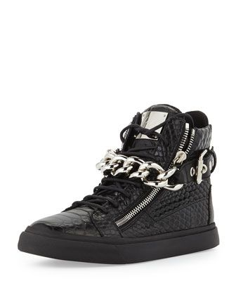 f6dc74dcc139c All black err thang!!!! Croc-Embossed Chain High-Top Sneaker by Giuseppe  Zanotti at Neiman Marcus.