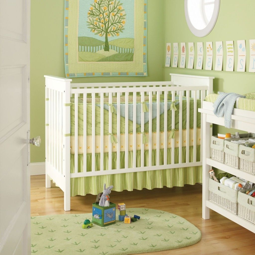 bedroom : Cute White Green Color Baby Nursery White Mirror And Brown ...