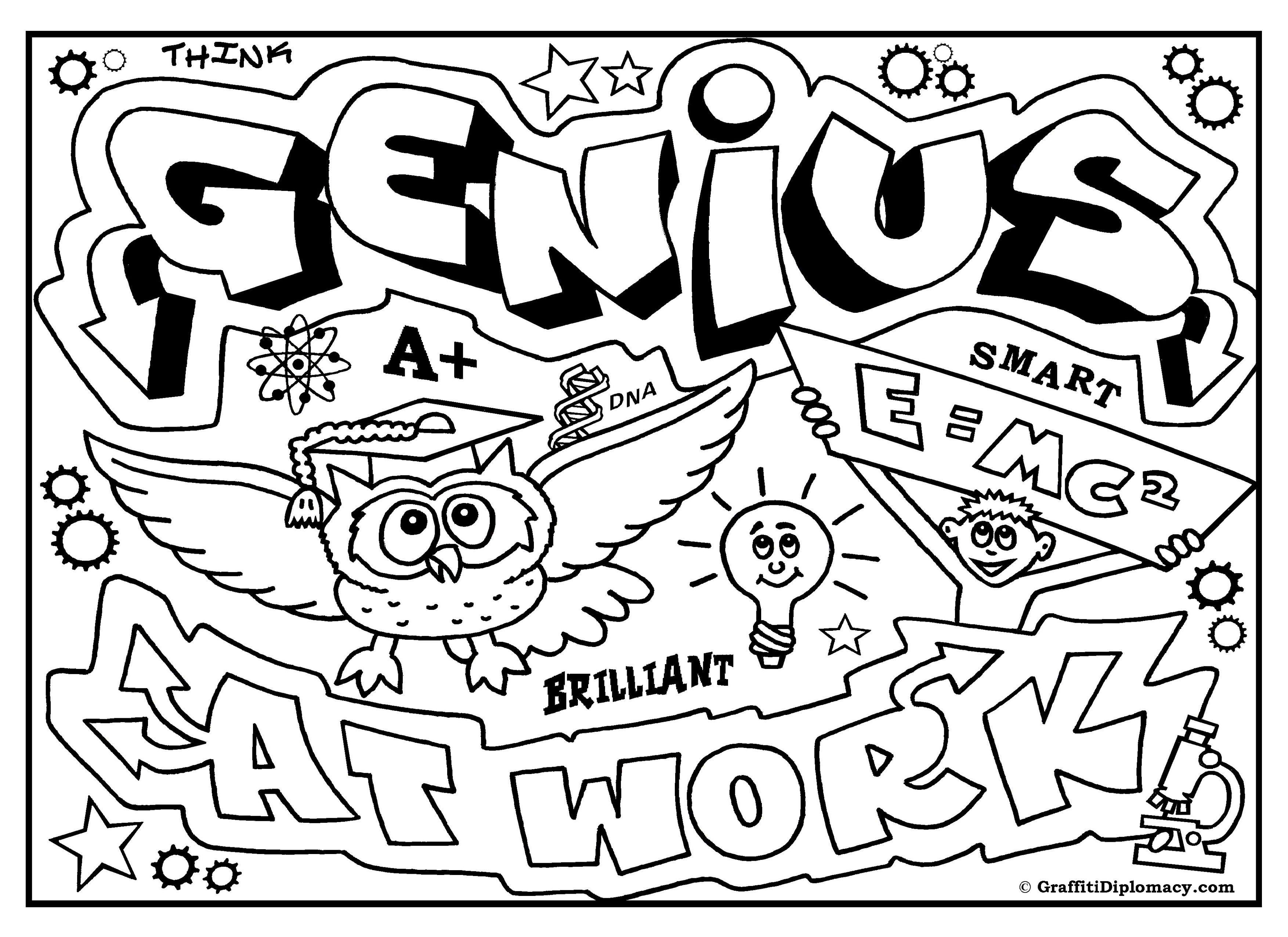 Genius At Work Free Coloring Page Graffiti Diplomacy Coloring Books Graffiti Graffiti Words