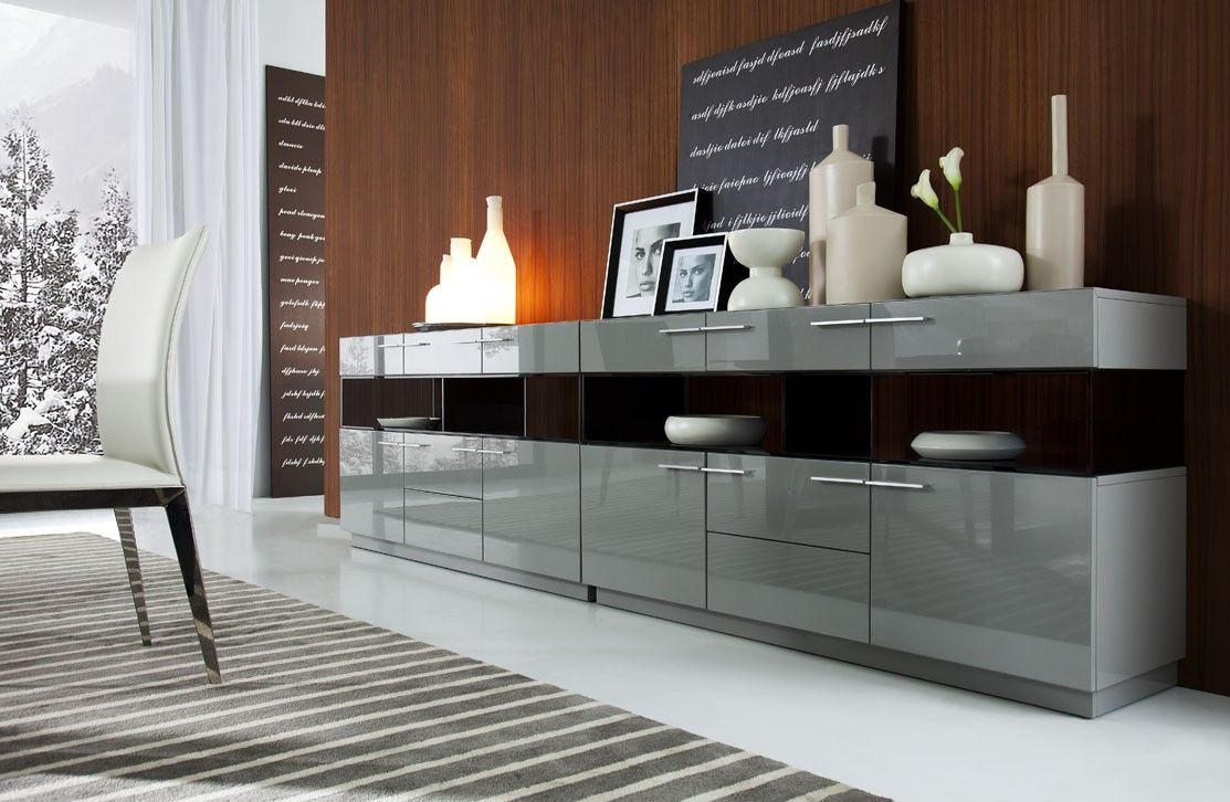 Contemporary buffet table furniture - Daytona Modern Grey Gloss Buffet