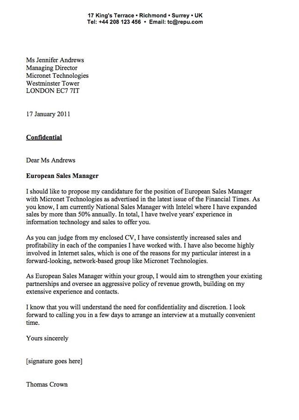 cover letter examples – Sample Cover Letter Example for Sale