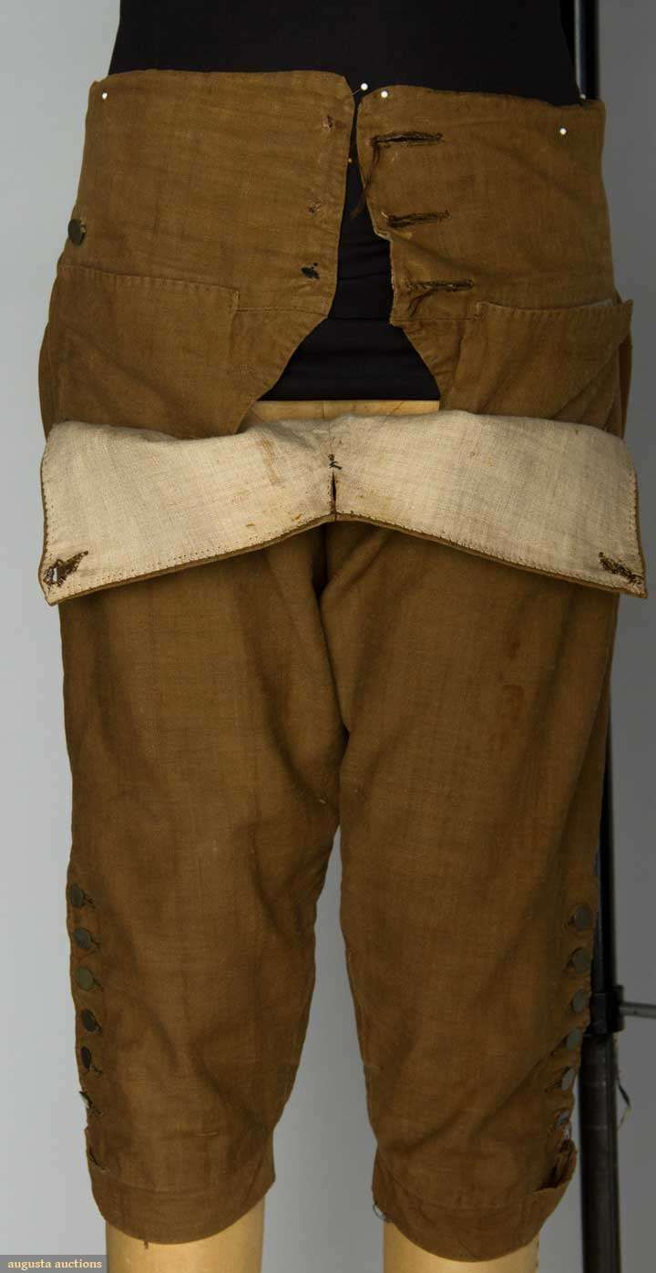 MIDDLE CLASS MAN'S DAY SUIT, RHODE ISLAND, 1780s linen dyed with butternutts - from Bristol CT Note: see how the pockets are top stitched to the waistband.