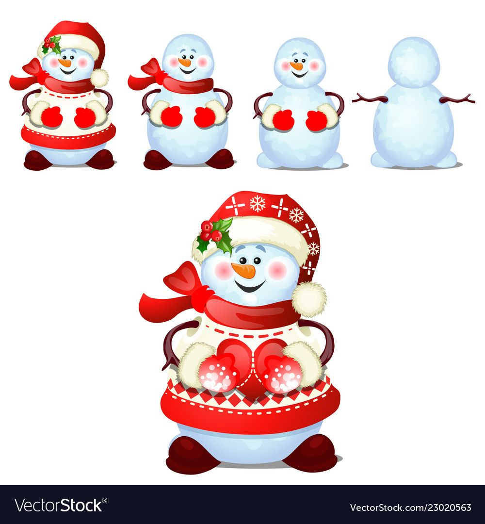 Set of cheerful snowmen with cap of santa claus vector