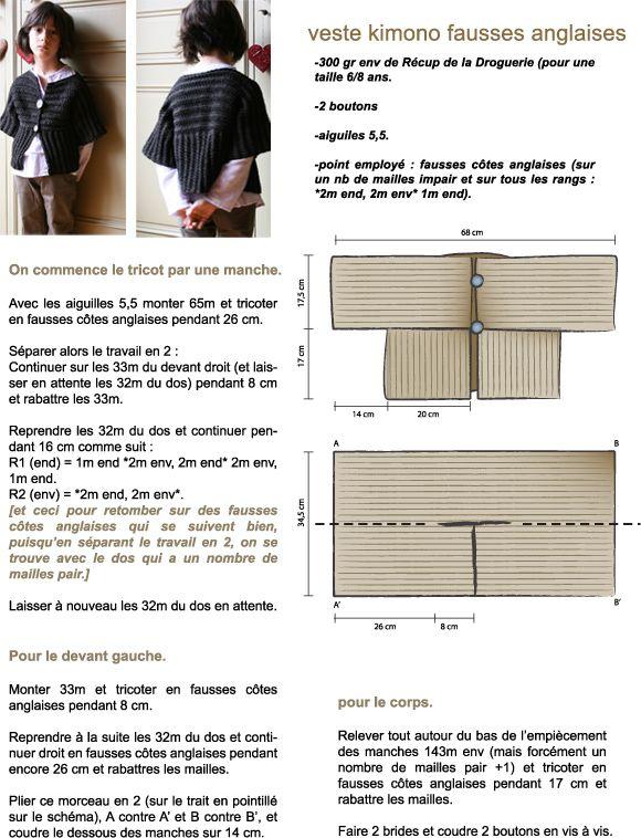 Veste kimono..... Knit! | Canastilla y niños | Pinterest ...