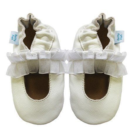 Soft Leather Baby girls Shoes with Suede Soles by Dotty Fish - White Mary  Jane Christening Shoe - months