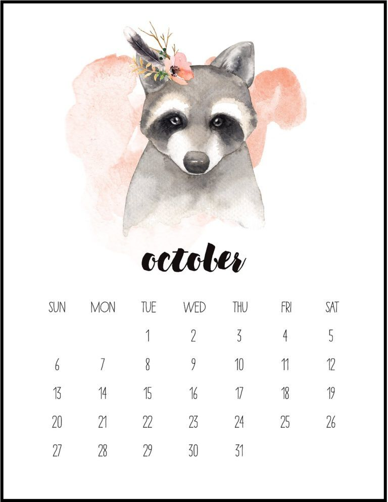 Watercolor October 2019 Printable Calendar Monthly Calendar
