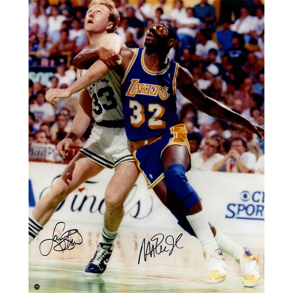 Magic Johnson and Larry Bird Dual Signed 16x20 Posting Up