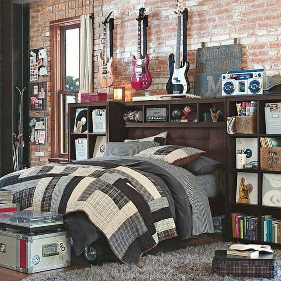inspiring boys bedroom design three guitar grey quilt woden header boar brick wall in musician - Brick Kids Room Decor