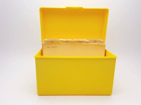 Vintage Yellow Plastic Recipe Box Container Kitchen Decor Prop Card