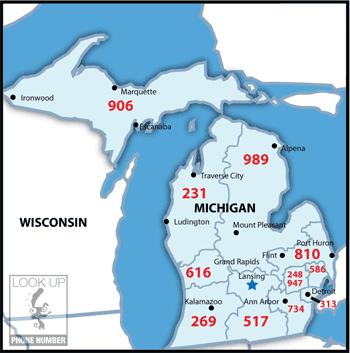 MIStateAreaCodeMap Michigan Facts Pinterest Area Codes - Michigan area codes