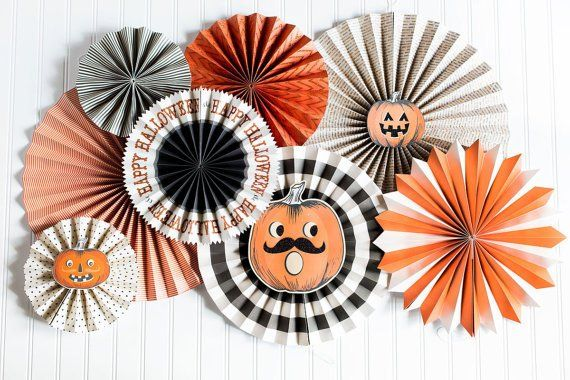 Halloween Party Fans, sale Pom Wheel, Rosettes, vintage Halloween