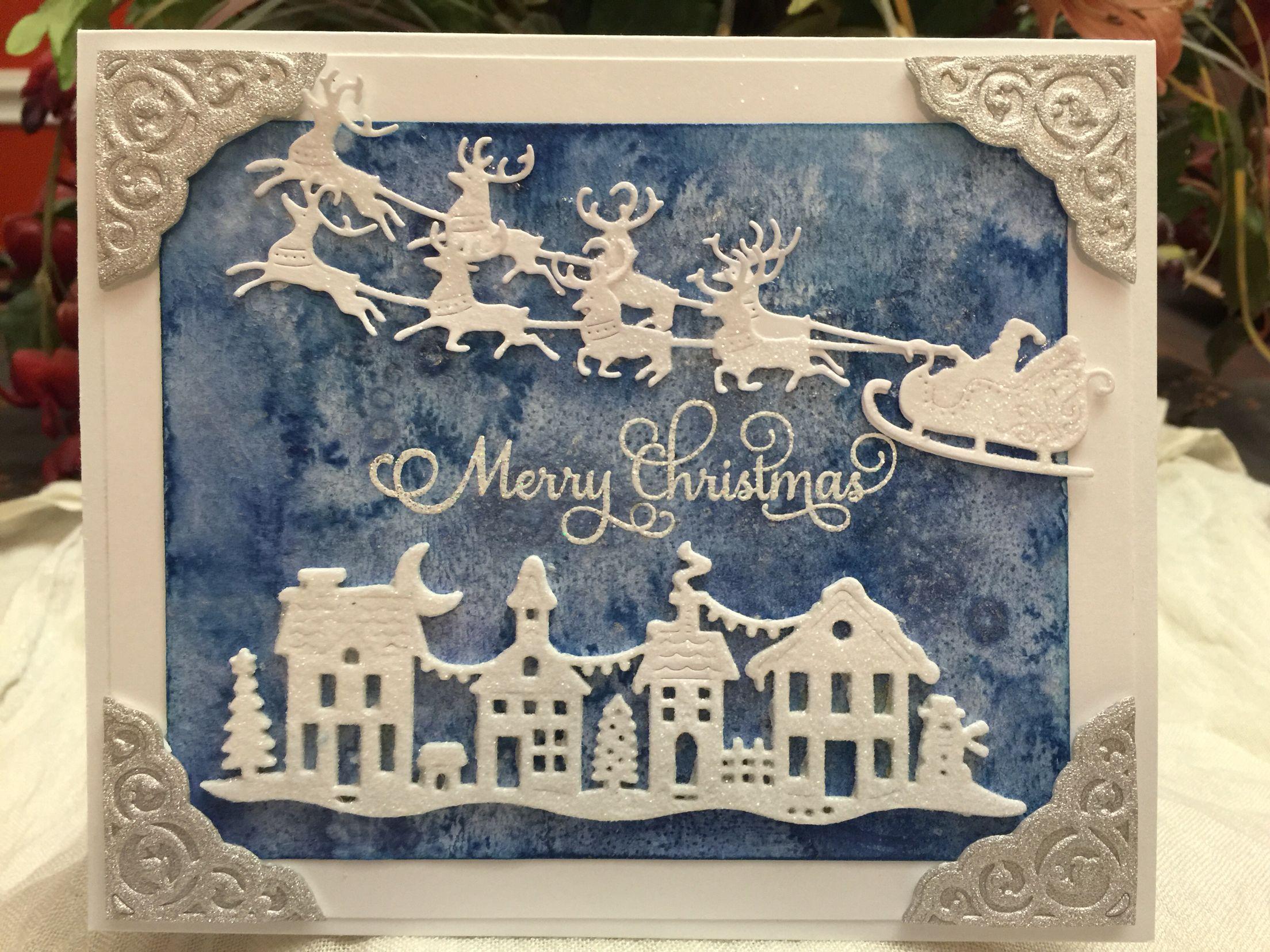 Santa Sleigh Reindeer- Christmas card.