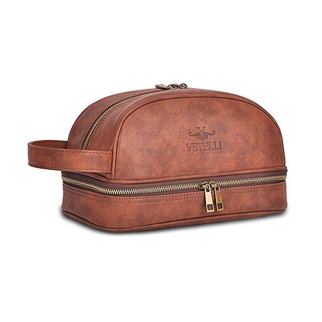 Amazon  Makeup  Bags Vetelli Men s Leather Toilet   Toiletry Bag (Dopp Kit b5755d9ad6