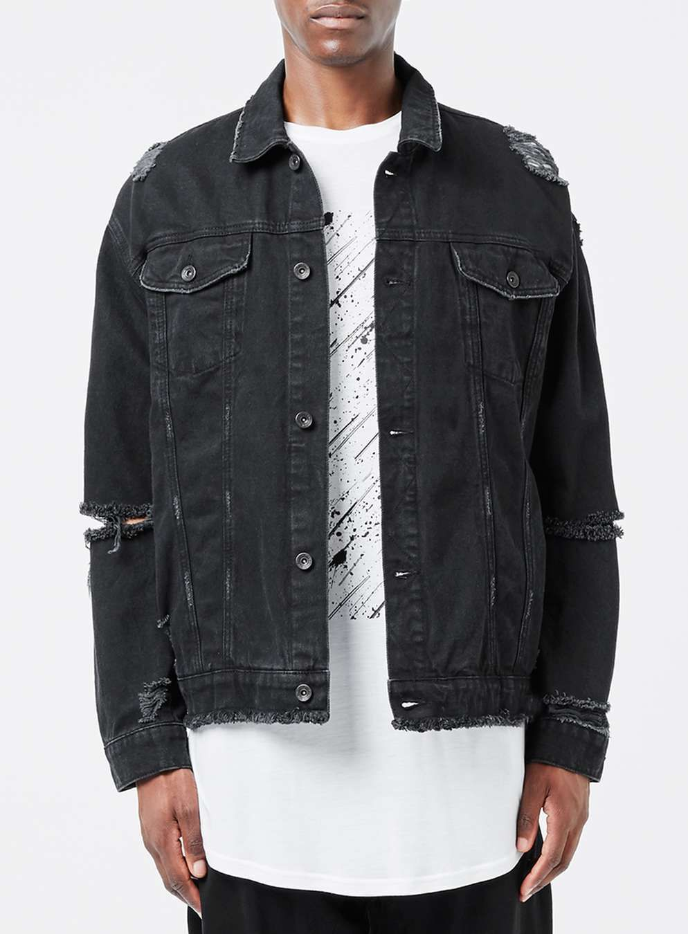 fee25120366c AAA Black Distressed Oversized Denim Jacket - Topman