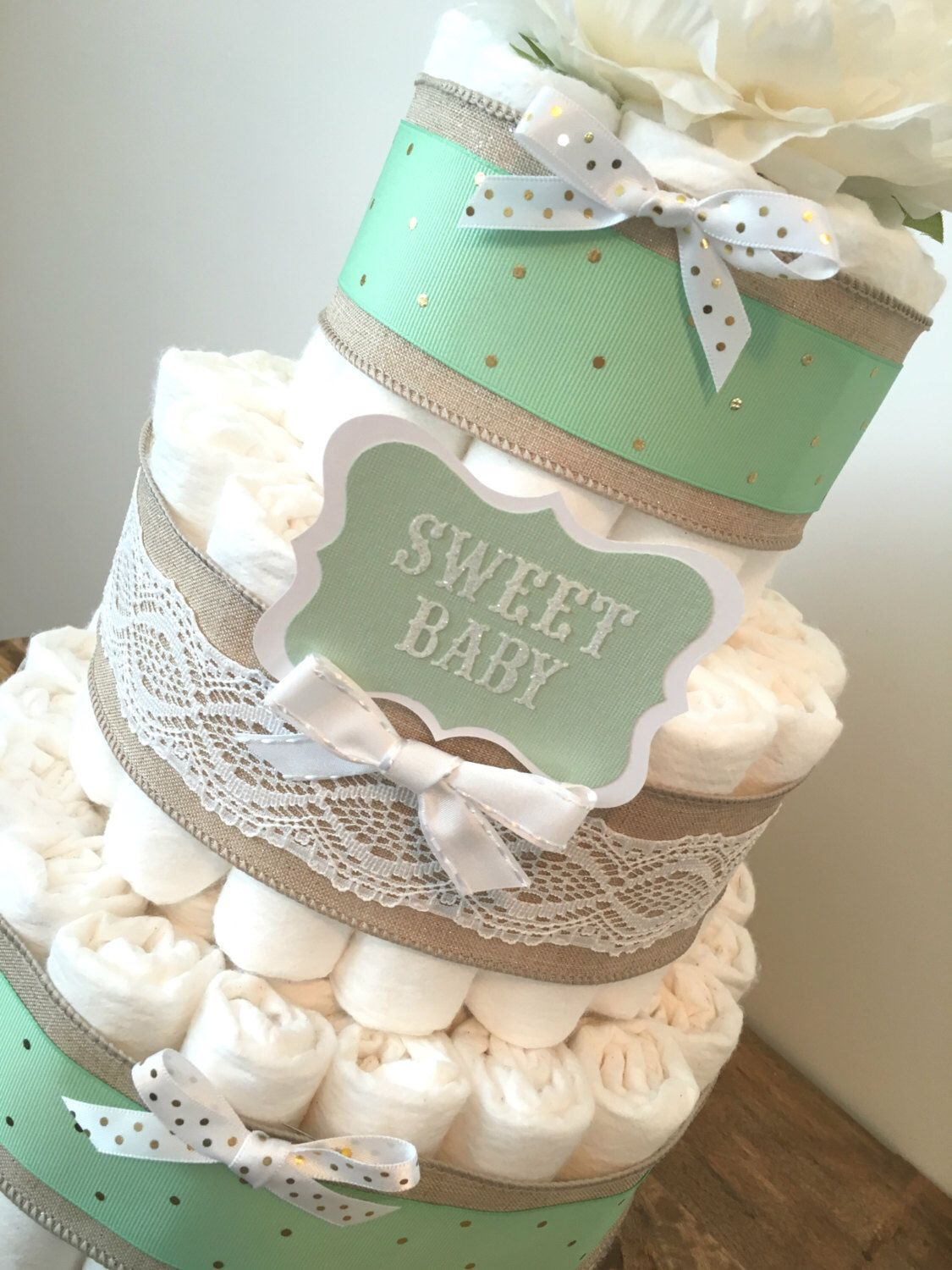 mint green diaper cake diaper cake centerpiece for neutral baby shower by buzzydiapercakes on. Black Bedroom Furniture Sets. Home Design Ideas