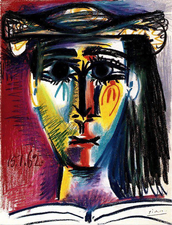 picasso - 1962 femme au chapeau (jacqueline) (private collection ...