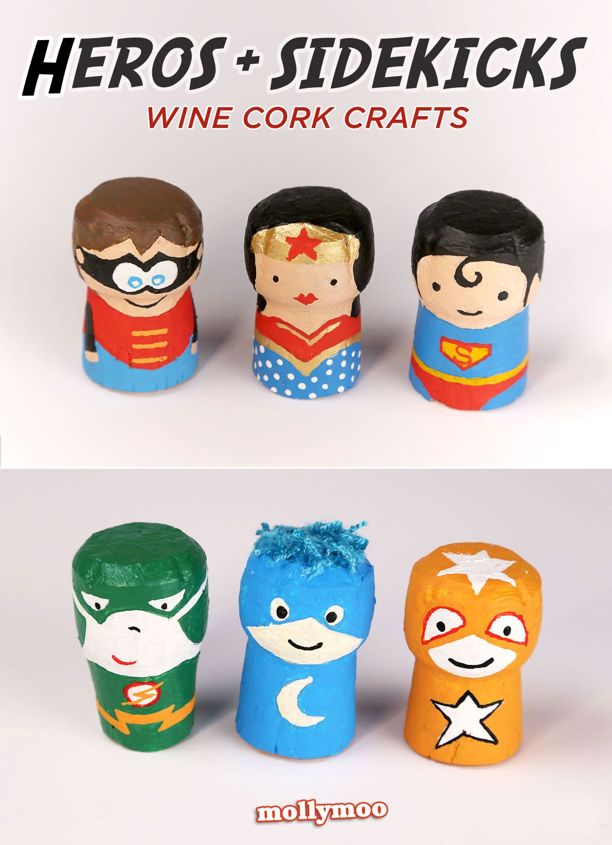 Superhero Crafts - wine cork characters to inspire adventurous play | MollyMoo #superherocrafts
