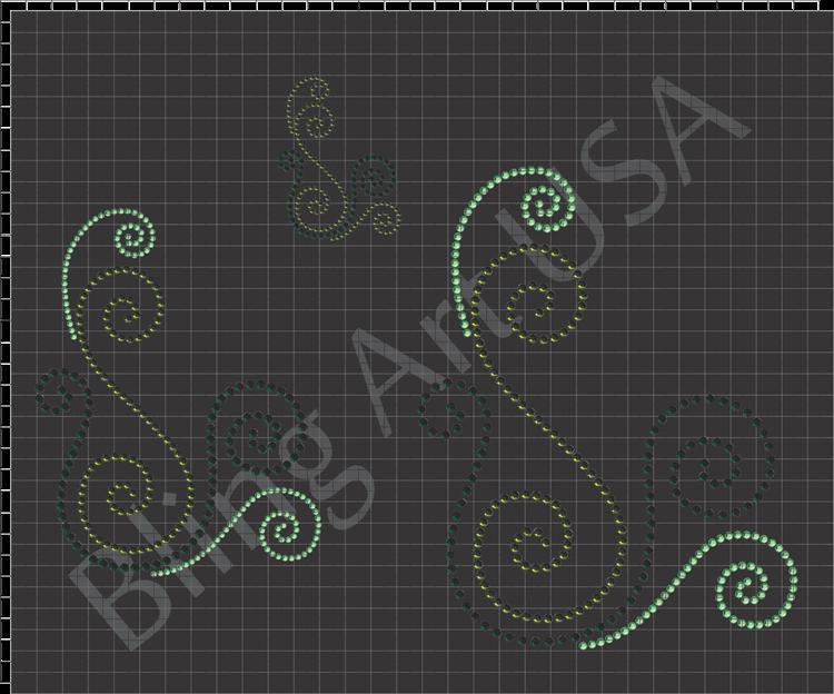 Swirls Rhinestone Downloads Patterns Bling Swirl Art SVG PLT