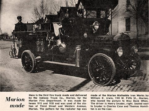 First fire truck made and delivered by the Indiana Truck Co., Marion Indiana for the Marion Fire Department.