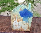 Bank House with Rabbit,Bird and Blue Cloud