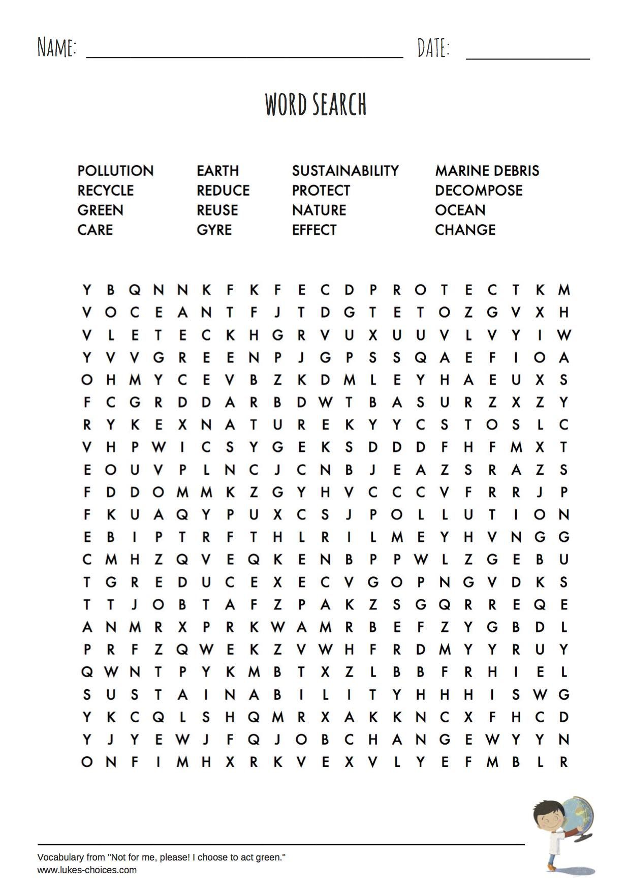 Word Search Worksheet Complementing Our Children S Picture Book Not For Me Please I Choose To