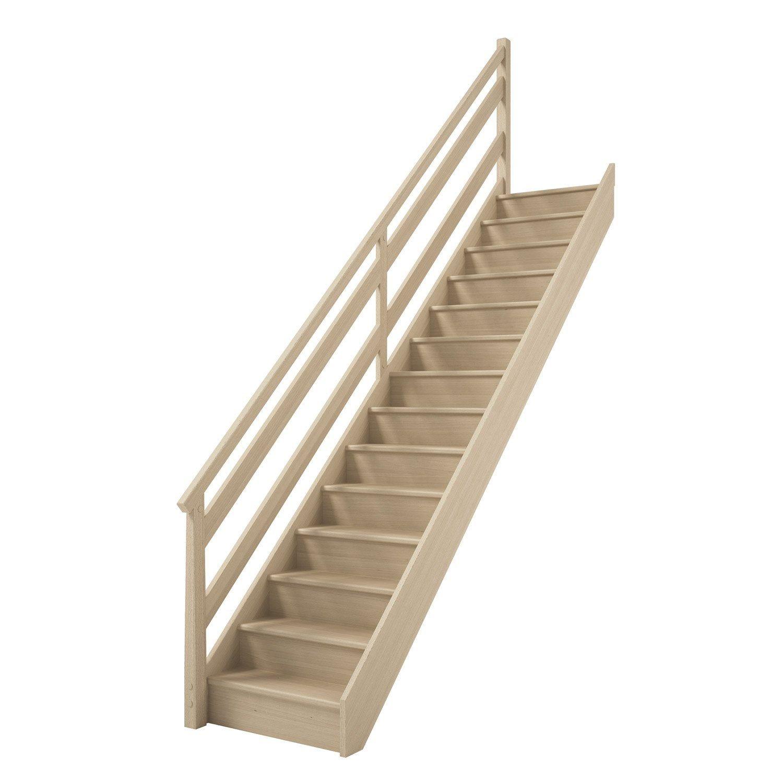 Escalier Droit Bois Hetre Soft Wood 14 Marches Hetre Rampe Gauche