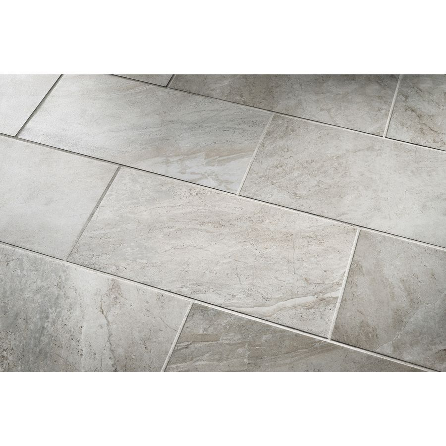 Shop style selections classico travertine taupe glazed porcelain