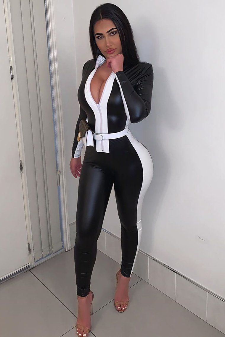 Only Mine Faux Leather Jumpsuit - Black/White