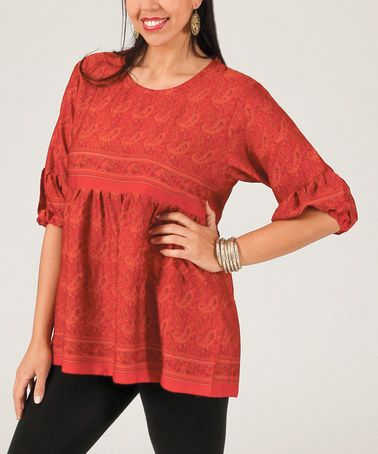 Another great find on #zulily! Orange Paisley Blouson-Sleeve Top - Plus #zulilyfinds