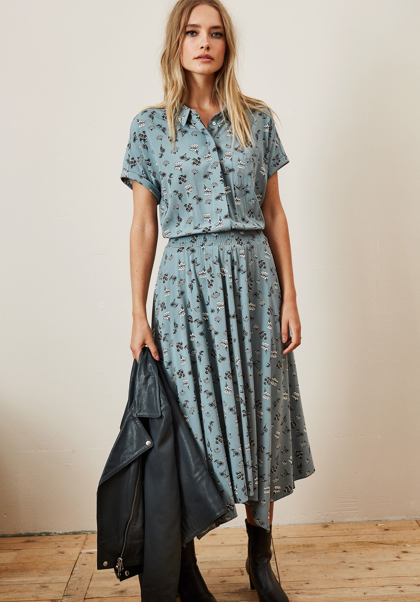 c0ea4a38db2 hush | autumn | silver floral midi dress | Stretch Kensington Shirt ...