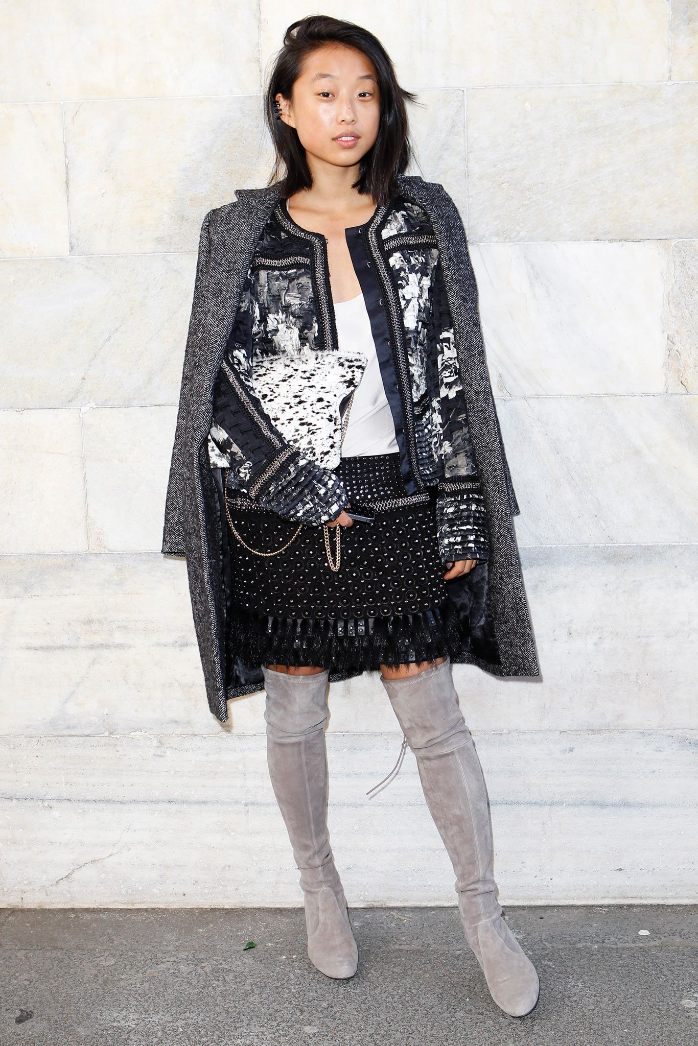 Margaret Zhang from shinebythree.com in Roberto Cavalli at the #RobertoCavalli FW 14-15 show
