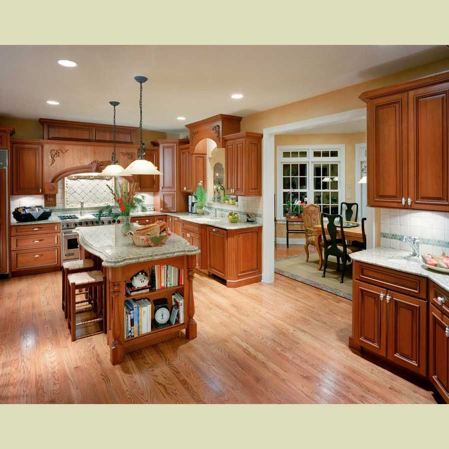 Medium Wood Kitchens: Light Hardwood Floors With Redish Medium Wood Cabinets