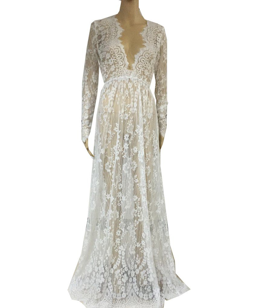 Floral lace seethough deep vneck long sleeves bridesmaid maxi