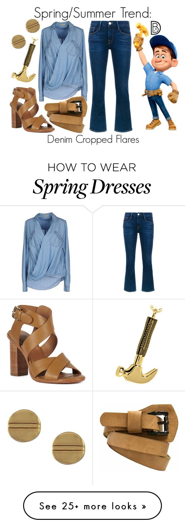 """Spring/Summer Trend: Denim Cropped Flares"" by leslieakay on Polyvore featuring Frame Denim, Pepe Jeans London, Avery, Vince Camuto, disney, springtrends, summerstyle and disneybound"