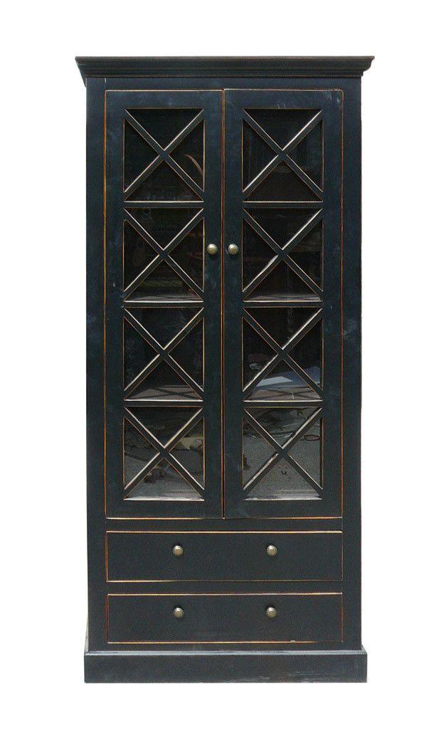 Chinese Oriental Black Gl Door Display Storage Cabinet