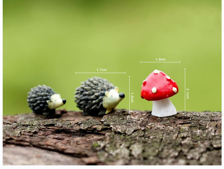 Sale~3 Pcs/resin Hedgehog With Red Dot Mushroom /miniatures/lovely Animals