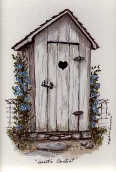 """A Drawing of an Outhouse with a Heart on the Door entitled """"Heart's Content""""   Drawn by Martha Hinson"""