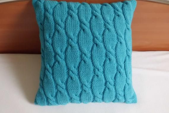 Photo of Cable Knit Pillow Case, Knit Pillow, Teal Decorative Pillow, Hand Knit Pillow Cover, 16×16 Turquoise Pillow Cover