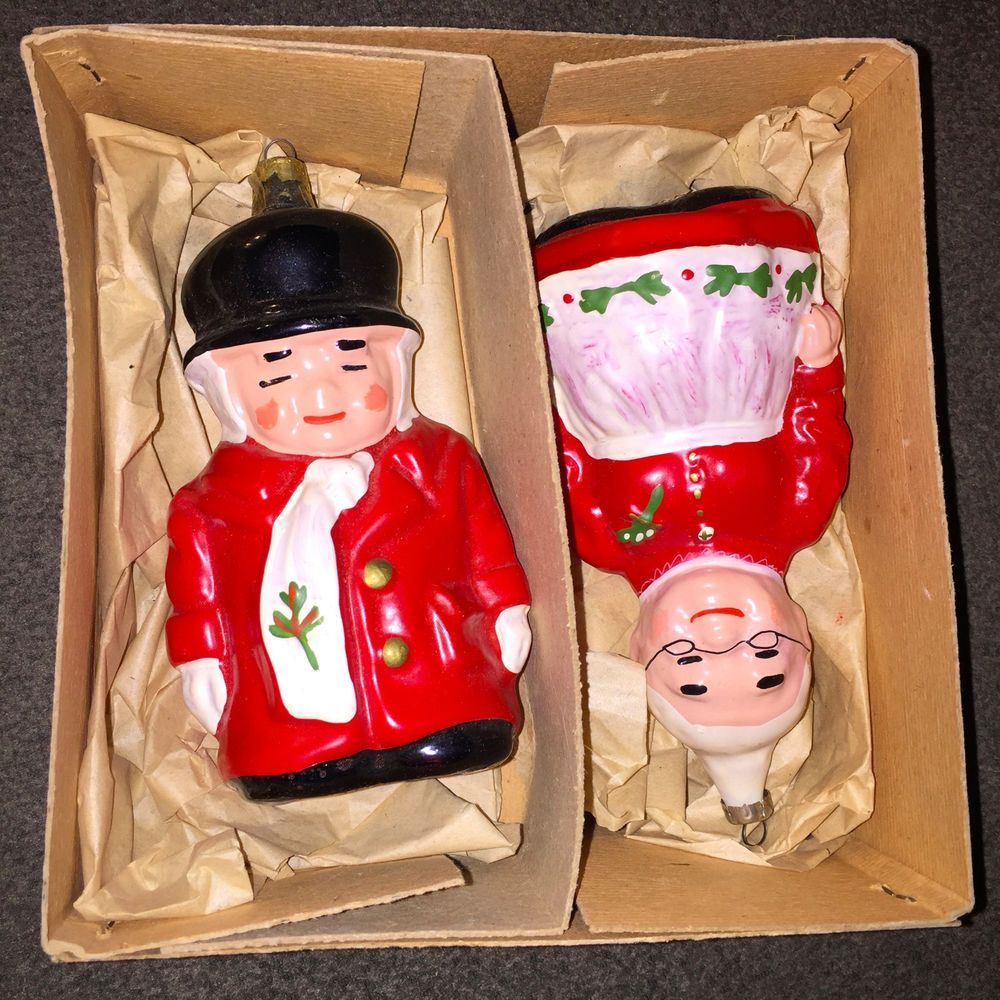 Uncle Mistletoe & Aunt Holly Christmas Ornaments In Box