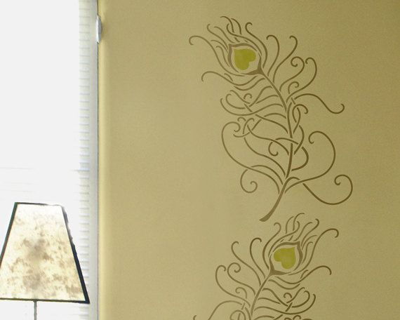 Resuable Wall Stencils Large Peacock Feather Stencil for Modern DIY ...
