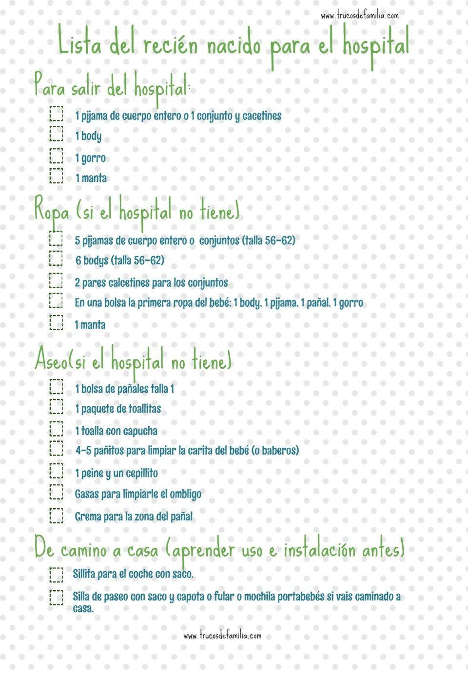Bolsa Del Bebe Recien Nacido Para El Hospital Checklist