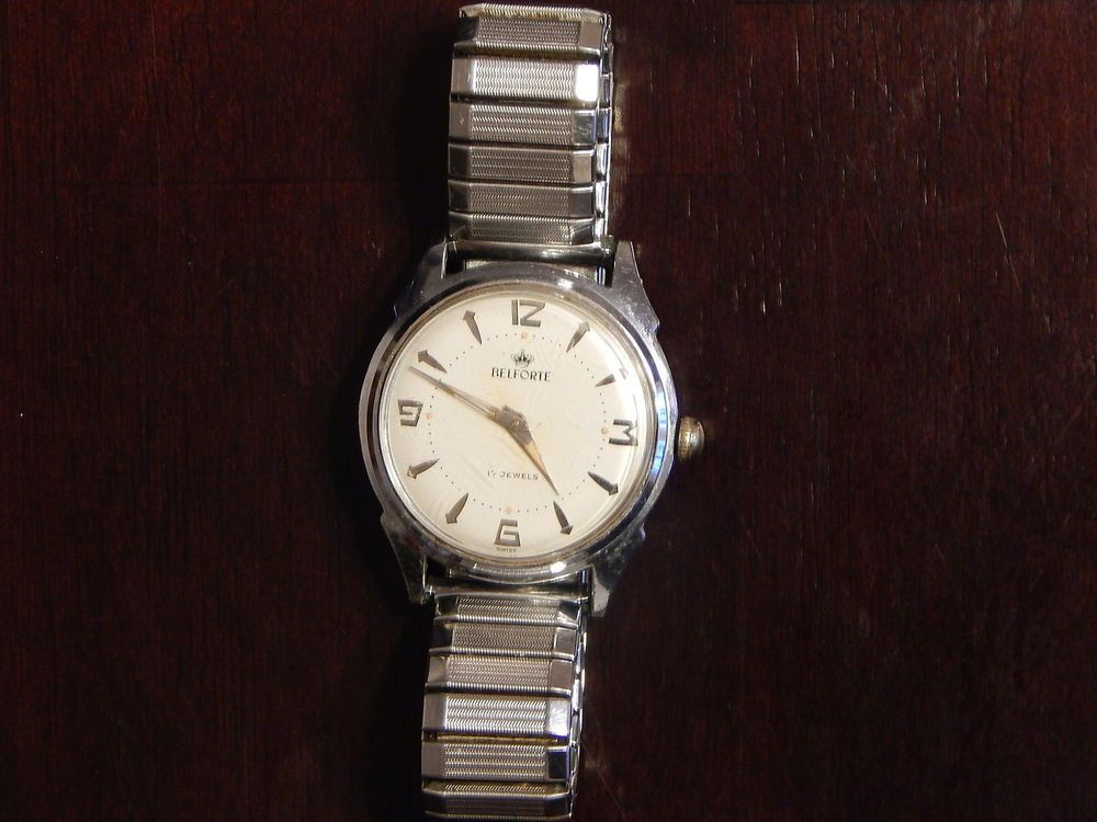 VINTAGE BELFORTE SWISS MEN'S WRIST WATCH 17 JEWELS- MODEL: 11 A 3, SILVER TONE #BELFORTE