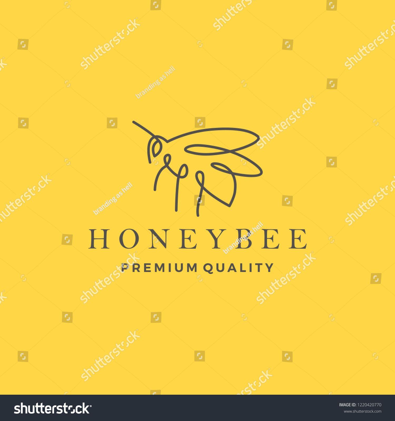 honey bee logo vector line outline monoline icon