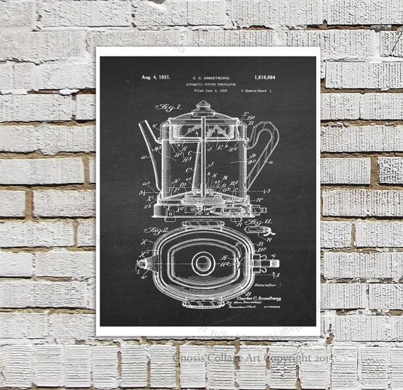 Coffee Wall Art, Coffee Shop Decor, Kitchen Wall Decor 1930s Era Automatic  Coffee Percolator