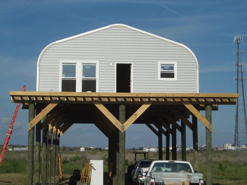 A Small Steel Building Few Feet Off