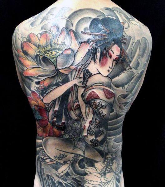 Tatuaże Męskie Geisha Na Plecach Tattoos Tatuaż Tatuaże Męskie
